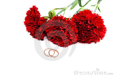 Bouquet of red carnations and wedding rings