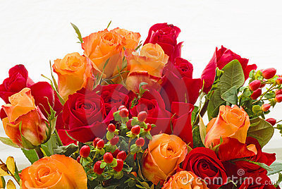 Bouquet of red and salmon roses