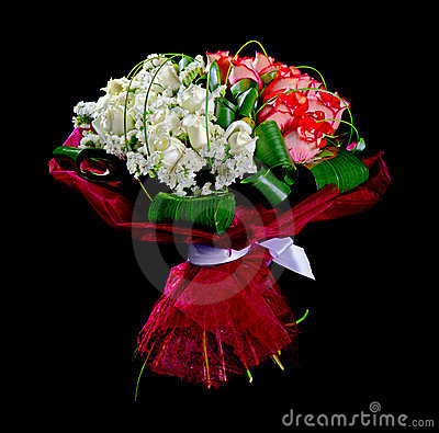 Bouquet red and white roses