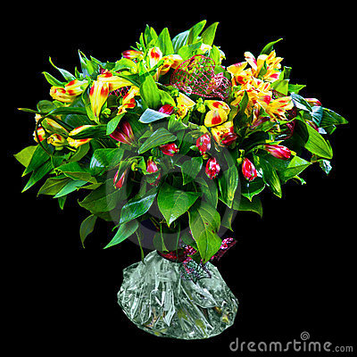 Bouquet Of Red And Yellow Alstroemeria Stock Photography ...