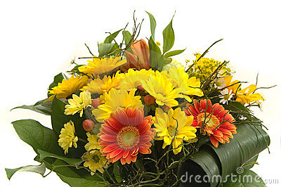 Bouquet with red and yellow flowers
