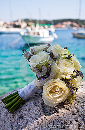 Bouquet on rock