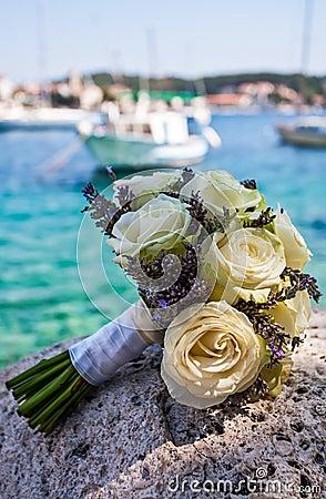 Bouquet on rock