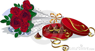 Bouquet of roses and chocolates