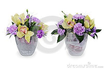 bouquet of roses, cloves and orchids