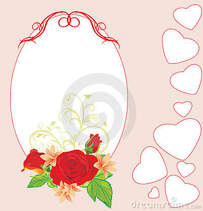 Bouquet of roses and lilies with hearts. Card