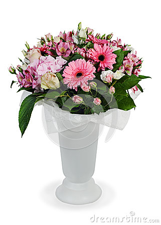 Bouquet of roses, lilies and orchids