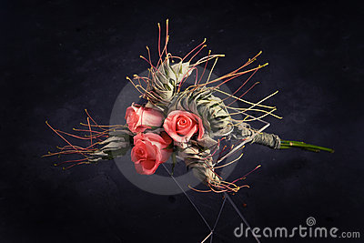 Bouquet of roses and maple leaves