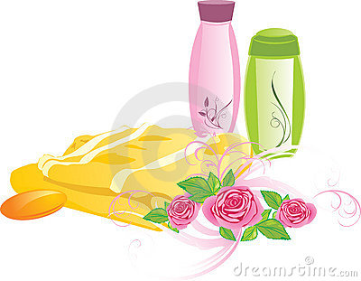 Bouquet of roses and set for bathing