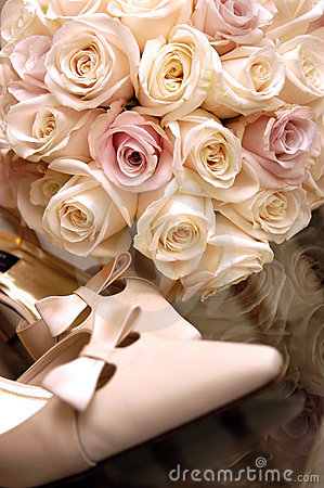 Bouquet and Shoes - Flowers for a wedding Stock Photo