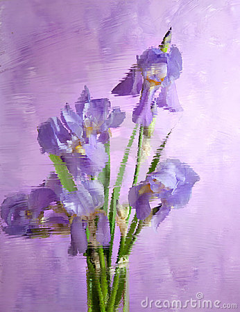Bouquet of spring purple Irises