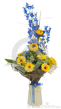 Bouquet of sunflowers and gerbera flowers  in vase isolated on white background.