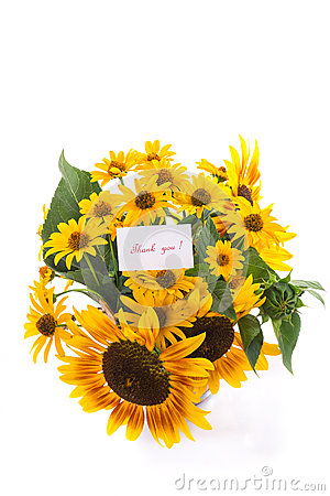 Bouquet of sunflowers and gratitude