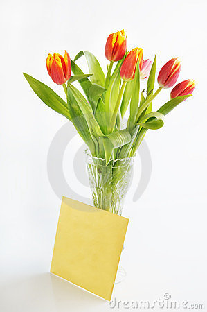 Bouquet of tulips in the crystal vase