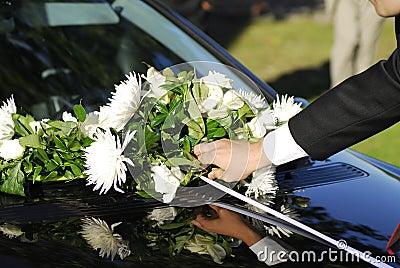 Bouquet on wedding car