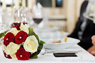 Bouquet at a wedding table