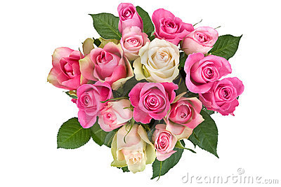 Bouquet of white-pink roses