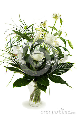 Bouquet of white roses and lily