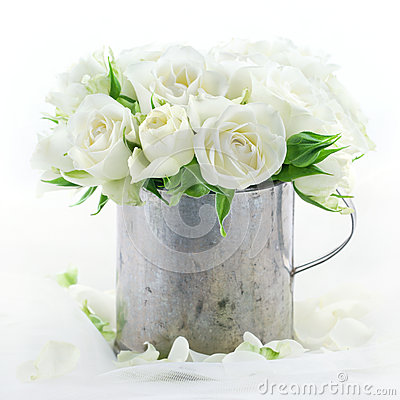 Bouquet of white wedding roses