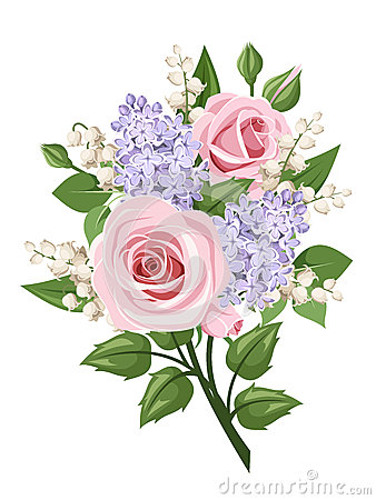 Free Bouquet With Pink Roses, Lily Of The Valley And Lilac Flowers. Vector Illustration. Royalty Free Stock Photos - 49518008