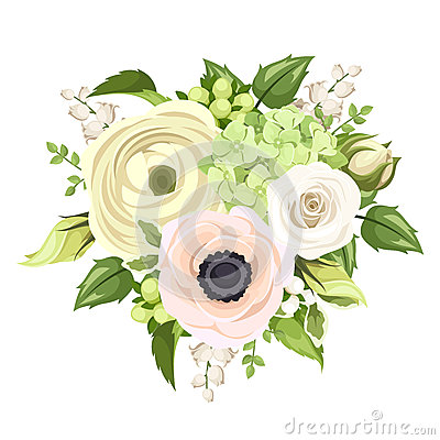 Free Bouquet With Rose, Anemone, Ranunculus, Lily Of The Valley And Hydrangea Flowers. Vector Illustration. Stock Photography - 52496952