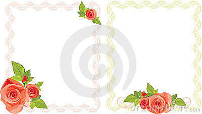 Bouquets of roses in decorative frames