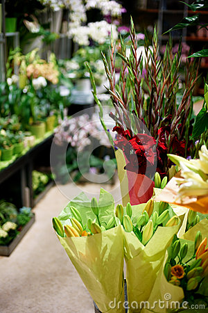 Bouquets waiting to be bought