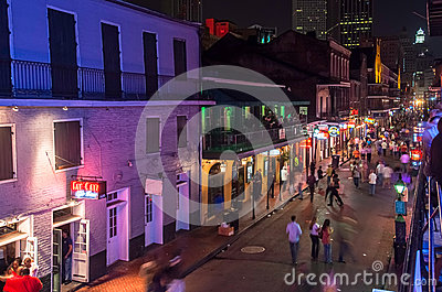 Bourbon Street at dusk Editorial Photo