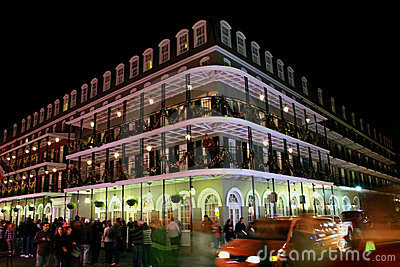 Bourbon Street, New Orleans at night Editorial Stock Photo