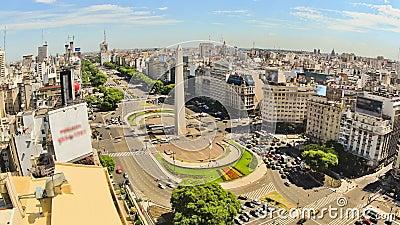 Bourdonnement ci-dessus de Buenos Aires de laps de temps de circulation urbaine