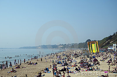 Bournemouth Beach on the hottest day in April Editorial Stock Photo
