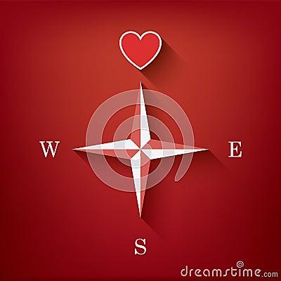 boussole d 39 amour avec le coeur comme symbole de l 39 amour dans un illustration de vecteur image. Black Bedroom Furniture Sets. Home Design Ideas
