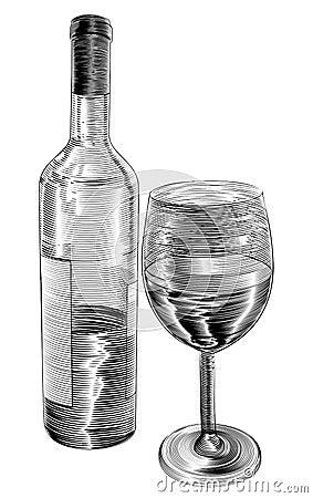 bouteille et verre de vin de gravure sur bois en vintage. Black Bedroom Furniture Sets. Home Design Ideas