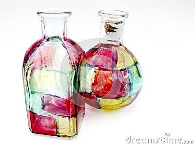Bouteilles en verre de souillure