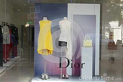 Boutique de luxe de Dior Photo stock éditorial
