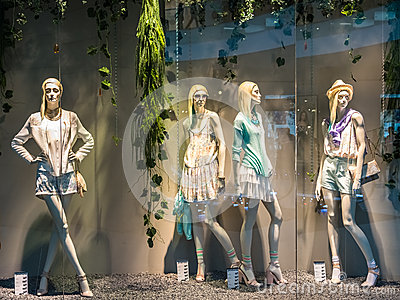 Boutique Fashion Mannequins Display Editorial Stock Photo