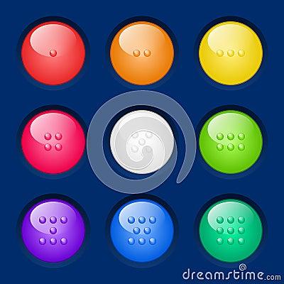 Boutons colorés réglés de vecteur.