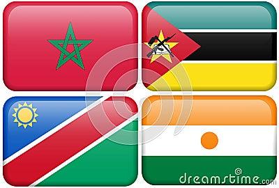 Boutons : Le Maroc, Mozambique, Namibie, Nigerien