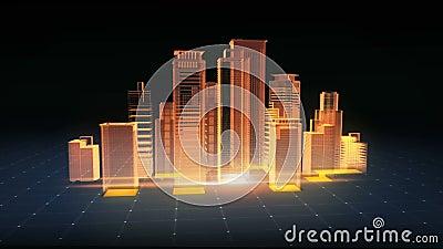 Bouw moderne gebouwen, de bouwbouw Geïsoleerd geef op een zwarte achtergrond terug royalty-vrije illustratie
