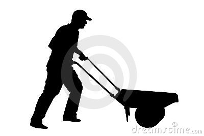 Bouwvakker of landbouwer met kruiwagen