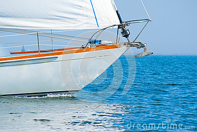 Bow of a beautiful sailboat in the water