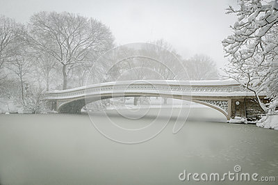 Bow Bridge covered in snow, Central Park, NYC