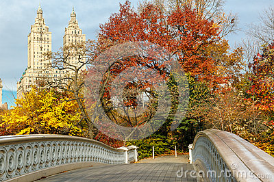 Bow Bridge and fall colors in Central Park, Manhat