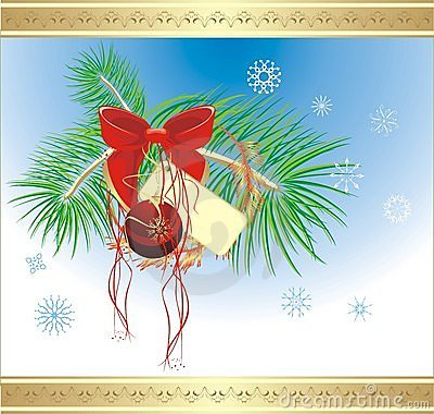 Bow and Christmas ball on the fur-tree. Card