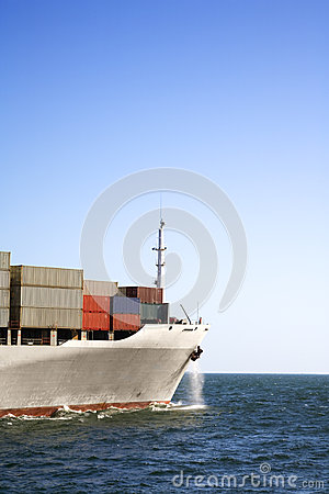 Bow of Container Ship at Sea and Copy Space