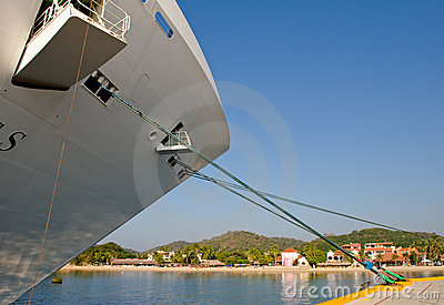 Bow of docked cruise ship