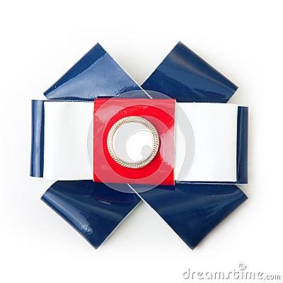 Bow emblem British flag color.