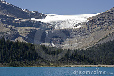 Bow glacier with glacier falls and bow lake