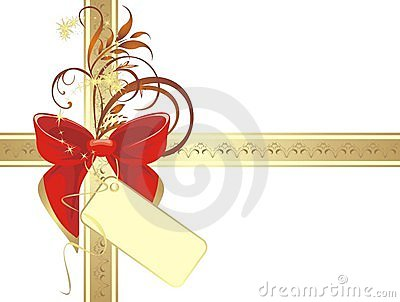 Bow on the gold ribbon with ornament