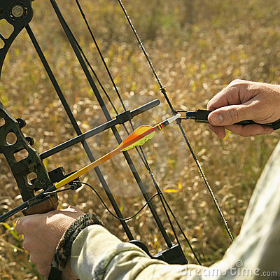 Bow hunter hands on bow